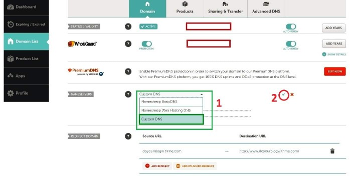 step 5 namecheap selecting custom dns