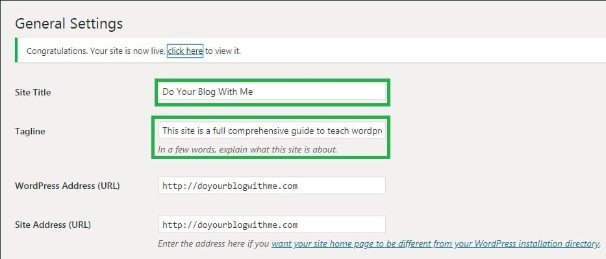wordpress step 2 type your site title and tagline