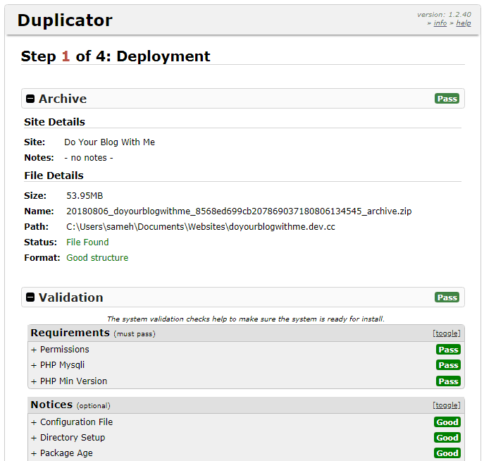Duplicator step 1a Deployment top page