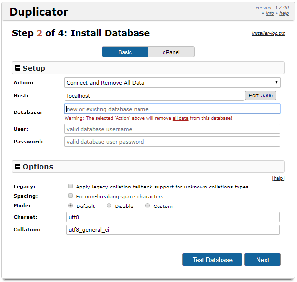 Duplicator step 2a deployment install database