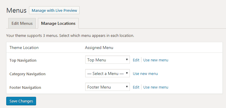 WordPress how to assign navigational menu