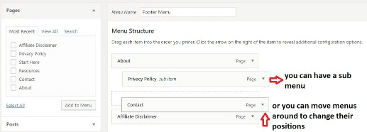 WordPress move menu around or create sub menu