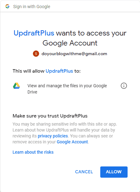 Wordpress step 3 UpdraftPlus allow access to google drive