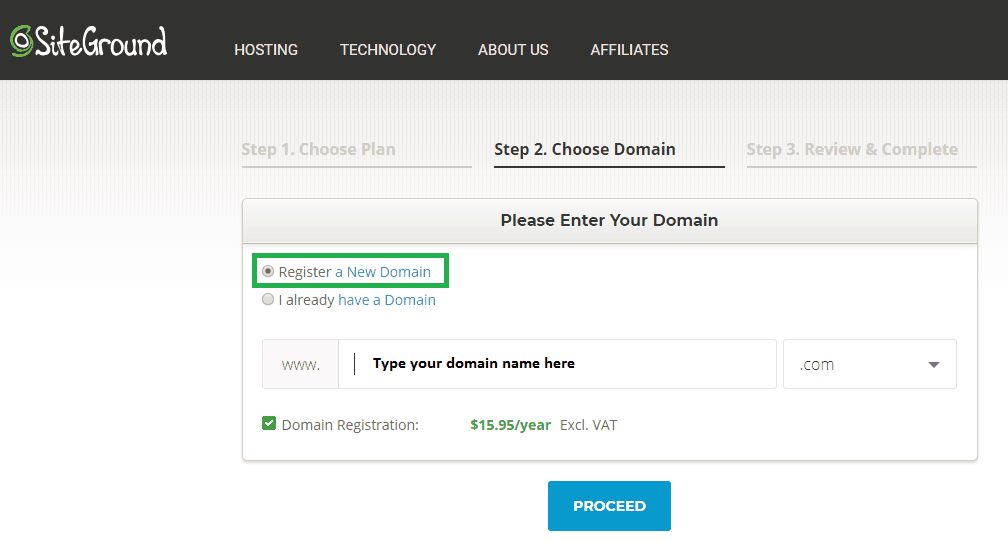 siteground step 3 register new domain