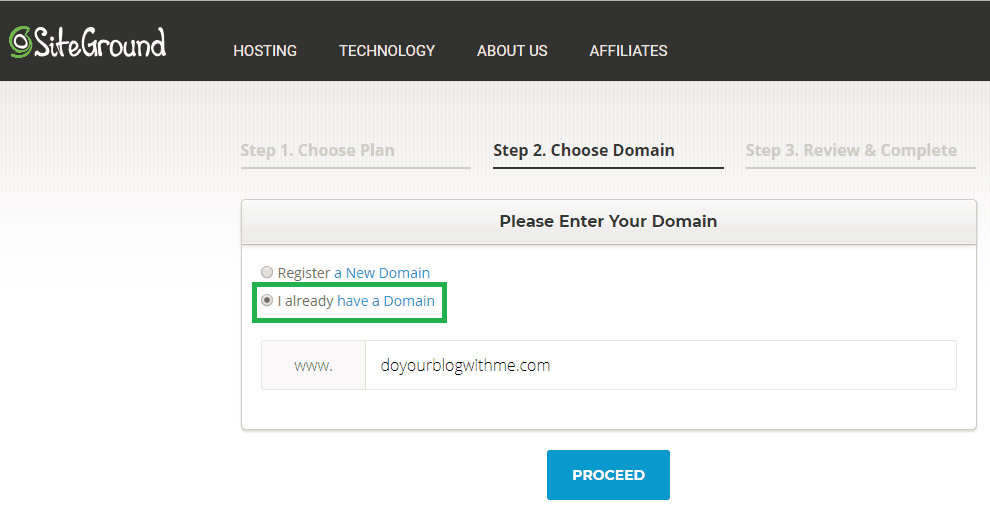 siteground step 4 choose existing domain