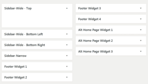WordPress widgets name location