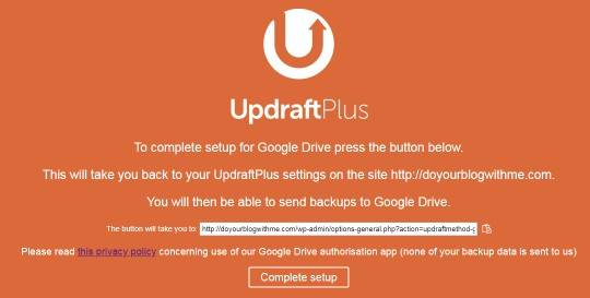 clone WordPress site - step-4-UpdraftPlus-authentication-completed-on-google-drive