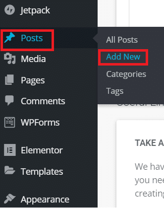 Adding new post or page