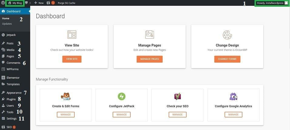 WordPress getting familiar with dashboard