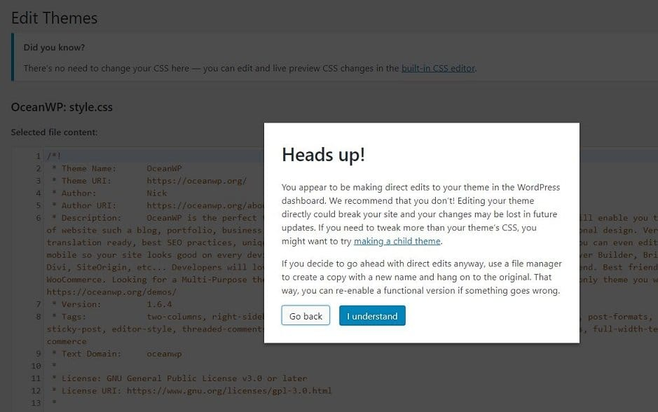 Theme editor warning in WordPress