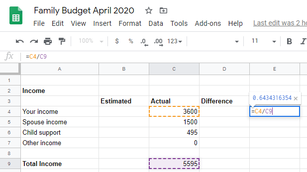 Google sheet calculating percentage per total income