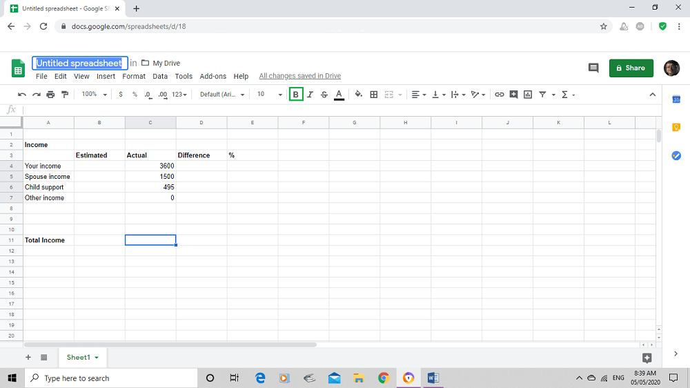 Google sheet renaming sheet for family budget