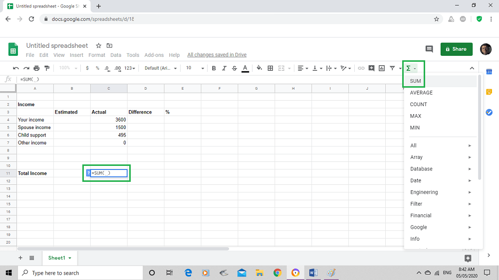Google sheet starting the summation process