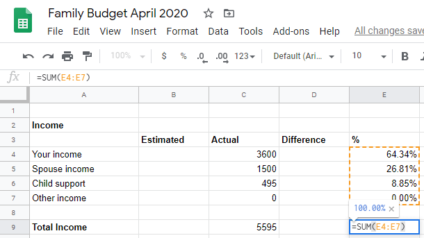 Google sheet sum all percentages
