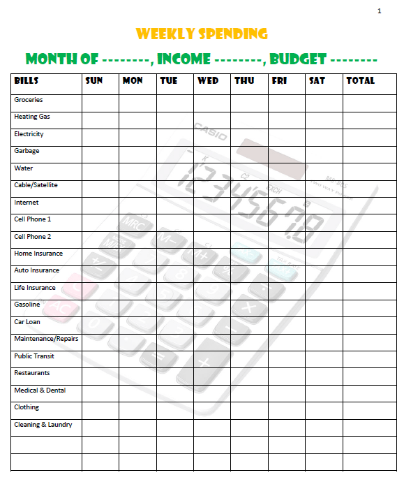 weekly spending sheet